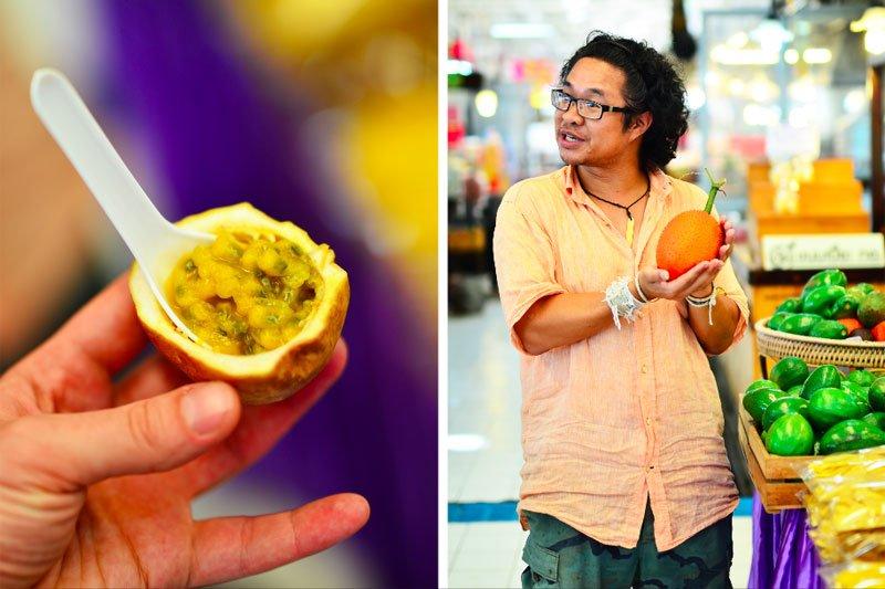 Tailandas, vyras maisto turguje