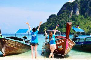 Merginos Tailando papludimyje