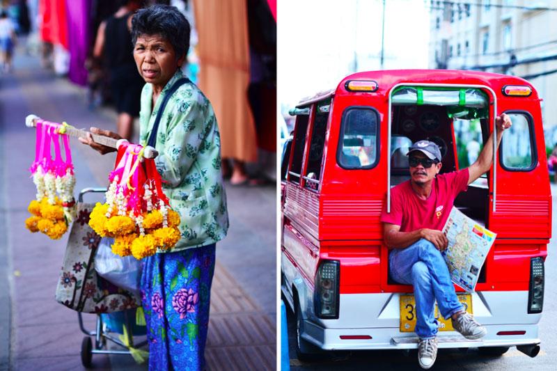 Tailando gatvėse pardavėjai, tuk tuko vairuotojai