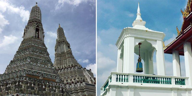 Tailando šventyklų architektūra, baltas varpinės bokštas, Tailandas