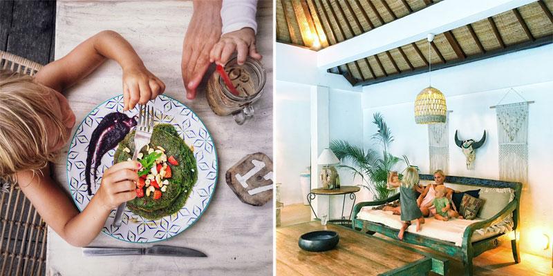 Mergaitė valganti pusryčius, moteris su dviem mažyliais moderniame kambaryje, Balis