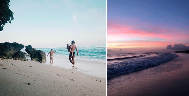 Moteris su vaikais einanti paplūdimiu