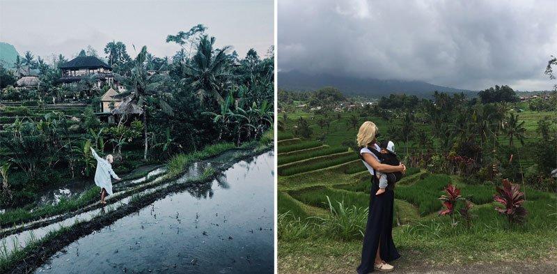 Moteris palmių ir ryžių laukų fone, moteris su mažyliu ryžių laukuose, Balis