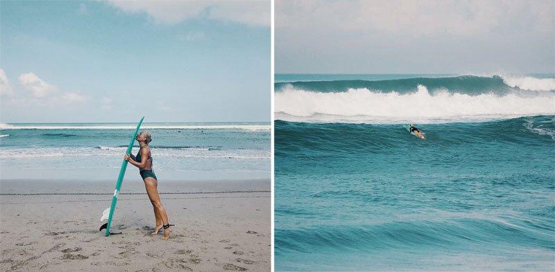 Moteris bučiuoja banglentę, moteris surfina, Balis