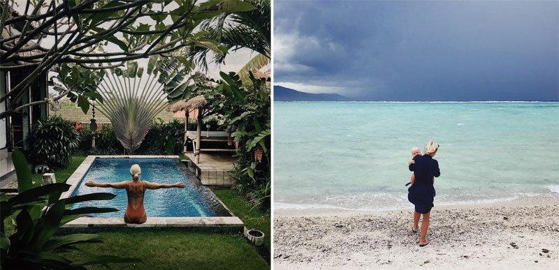 Moteris sėdinti ant baseino krašto, Bali, balto smėlio paplūdimyje su mažyliu