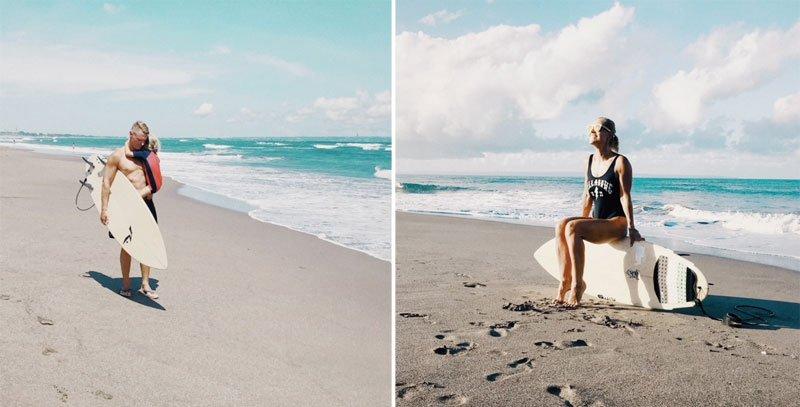 Jaunas vyras su dukra paplūdimyje, moteris ant banglentės