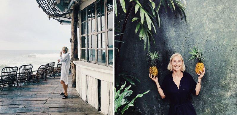 Moteris namo verandoje prie jūros, moteris su ananasais