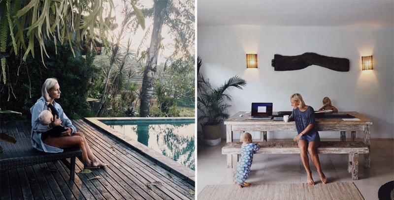 Moteris su vaiku šalia baseino, moteri ssu vaikais moderniame kambaryje